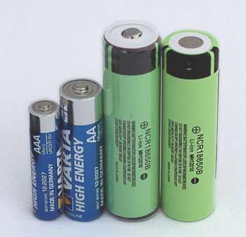 bilde av batterityper